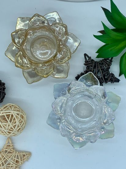 China Glass Factory Rainbow Colors Lotus Flower Decorative Tealight Glass Candle Holder, Glass Craft, Glass Ware