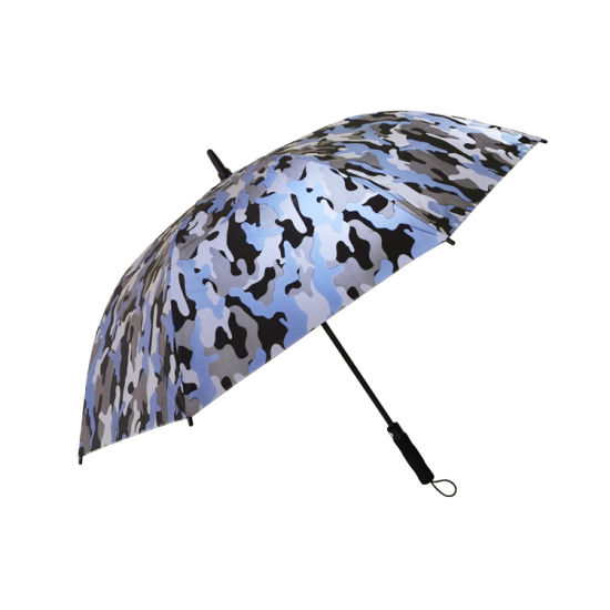 Camouflage Style Reflective Canopy Safey Golf Rain Umbrella for Outdoor