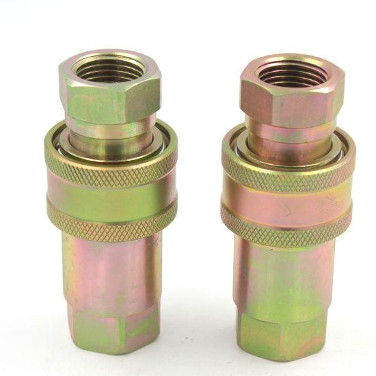 "3/4"" Bsp Carbon Steel Poppet Valve ISO7241 Hexavalent Chromium Salt Spray 72 Hours Quick Release Pipe Coupling"