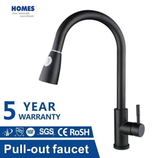 Kitchen Faucets Commercial Solid SUS304 Stainless Steel Single Handle Single Lever Pull Down Sprayer Spring Brushed Surface Faucet Tap Matte Black Rose Gold