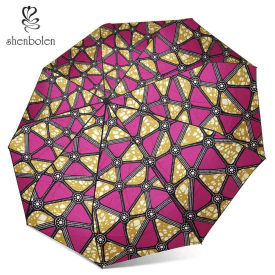 African Style African Print Waterproof and UV Protection Umbrella Short Umbrella Wholesale Price