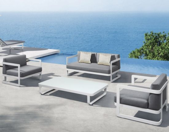 Modern Patio Sofa with Aluminum Armrest and Soft Fabric Seat