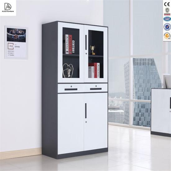 Modern Office Livingroom Furniture Steel Filing Cupboard 2 Glass Cabinet