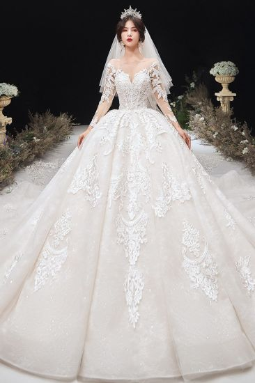 3/4 Sleeves Bridal Ball Gown Long Lace Tulle Wedding Dress 2021 Lb2043 pictures & photos