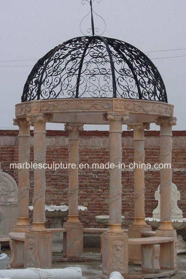 Sunset Red Qu Yang Stone Sculpture Marble Gazebo (SY-G012) pictures & photos