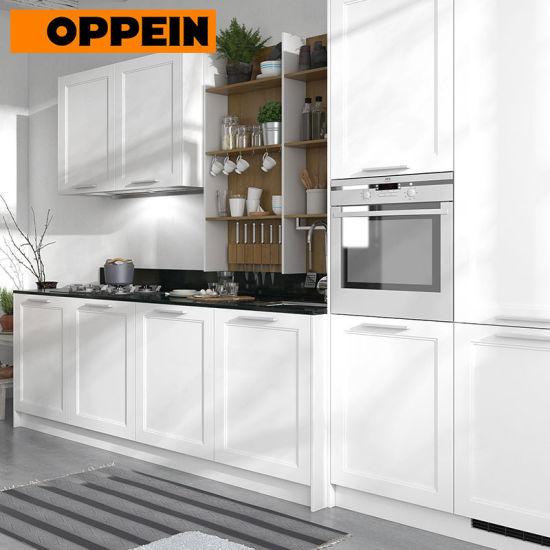 China 360cm Width White Thermofoil Finish Standard Kitchen Cabinet Op17 Pvc07 China Modular Kitchen Cabinet Kitchen Cabinets
