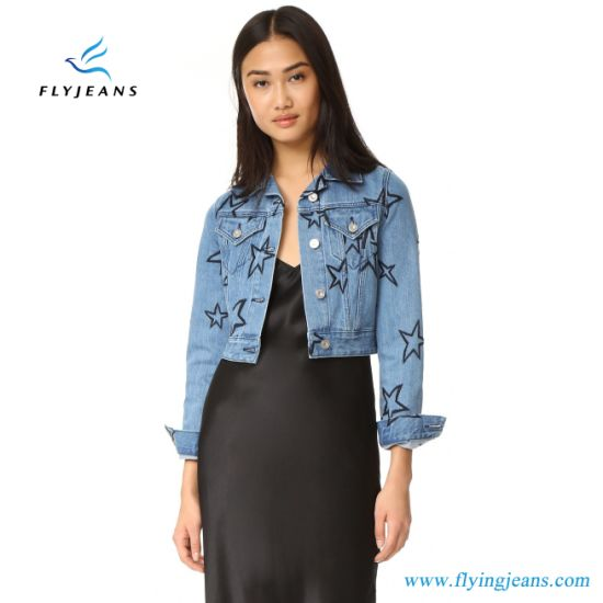 1814caba4436 China Embroidered Stars Denim Ladies Jeans Jackets (E. P. 733 ...