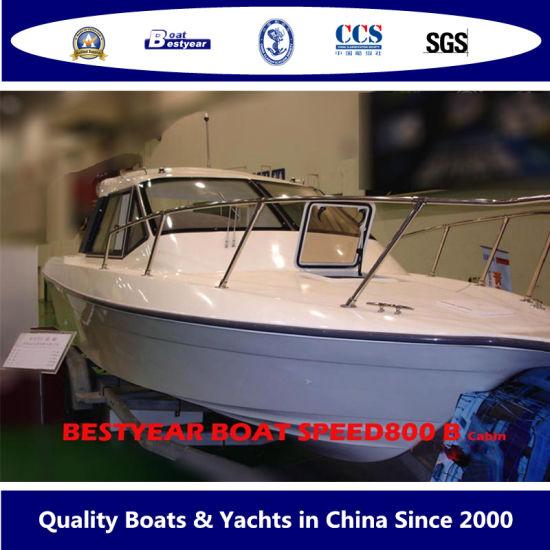 Fiberglass Luxury Yacht of Speed Cabin Boat 800 for Pleasure or Fishing 8m Yacht