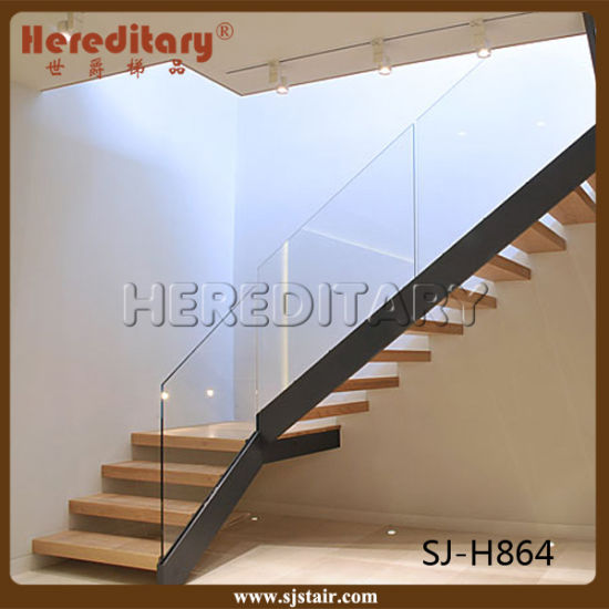 Modern Steel Wood Glass Railing Straight Staircase (SJ H864)