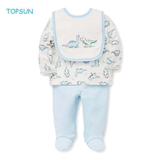 Baby Boys Warm Clothes Set with Bib Children T-Shirt and Pant with Feet Protect Wear