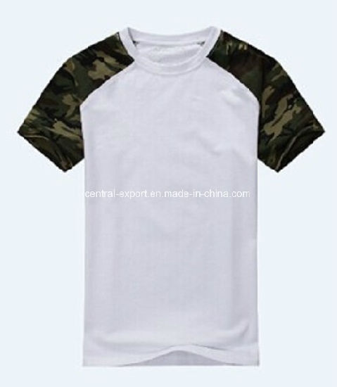 Hot Sale Slim Fit Short Sleeve Cotton Camouflage Men Round Neck T-Shirt pictures & photos