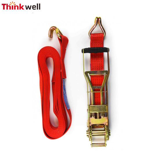 Ratchet Tie Down Winch Strap with Chain Extensions Hooks