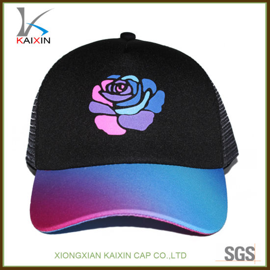 1d234b97fb7 China Custom Flower Printing Colorful Foam and Mesh Trucker Hat ...