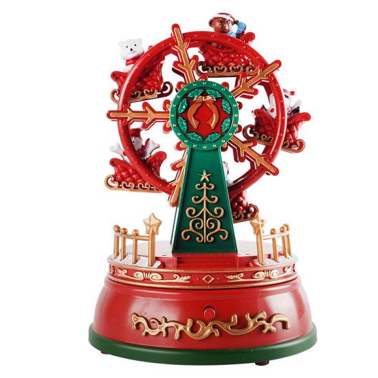 Noel Plastic Christmas Fairy Santa Claus and Snowman Figurine Ferris Wheel Music Box with LED Light