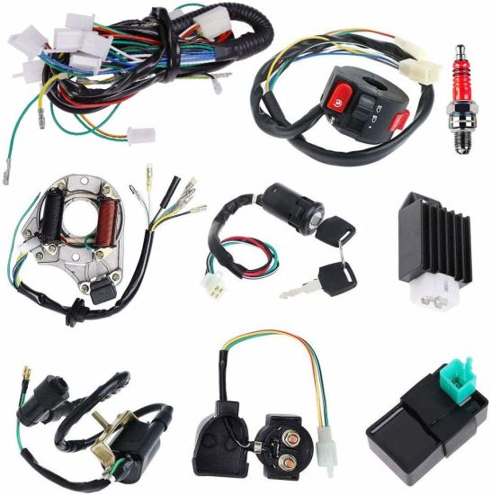 Complete Electrics Stator Coil Cdi Wiring Harness Solenoid Relay Spark Plug  for 4 Stroke ATV Dirt Bike - China Wiring Harness, Automotive Wiring Harness  | Made-in-China.comMade-in-China.com
