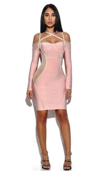 c40bd74de95 Pink Dresses Long Sleeves Dress Sexy Dress Bandage Dress Party Dress for  Woman