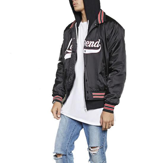 Bomber Jacket Wholesale Fashion Style Black Bomber Jacket Plain Black Mens Winter Jackets Custom Mens Jackets