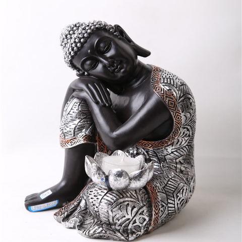2020 Hotsell Big Tabletop Inner Heart Peaceful Meditating Sliver Buddhist Sitting Resin Thai Buddha Statue