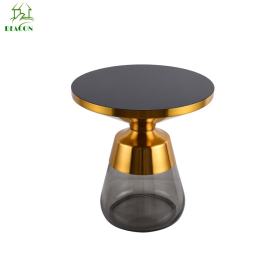 Home Furniture Transparent Glass Round Top Metal Stainless Steel Gold Color Side Living Room Tempered Glass Base Art Coffee Table