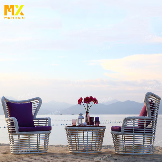 Hotel Indoor and Outdoor Sofa Furniture with PE Round Rattan Weave