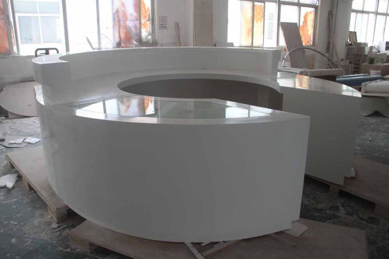 Solid Surface Stone Modern Decoration White Office Reception Desk pictures & photos