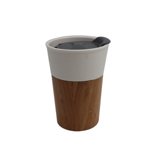 16oz Wholesale 450ml Double Wall Stainless Steel Bamboo Travel Coffee Mug