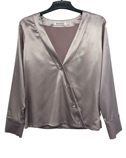Silk Fabric Ladies Blouse/Shirts with Front Button