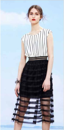 Wholesale Stock Women Clothes Sleeveless Splicing Dress