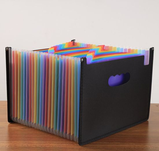 Office Supplies A4 FC Size Pocket Expanding File, Expanding File Folder with Handle 24 Pockets