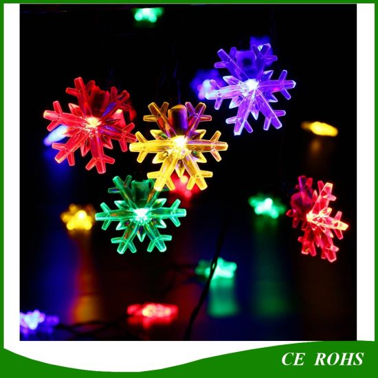 5m6m7m solar powered snowflake string lights 203050 led christmas party festival outdoor garden patio decor lamp