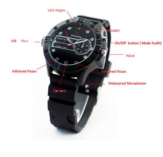 H. 264 HD Waterproof IR Night Vision Mini Camcorder DVR Audio Video Recorder Watch Camera pictures & photos