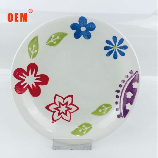 Colorful Handprinting Ceramic Round Plate Cheap Stoneware Dinner Plate pictures & photos
