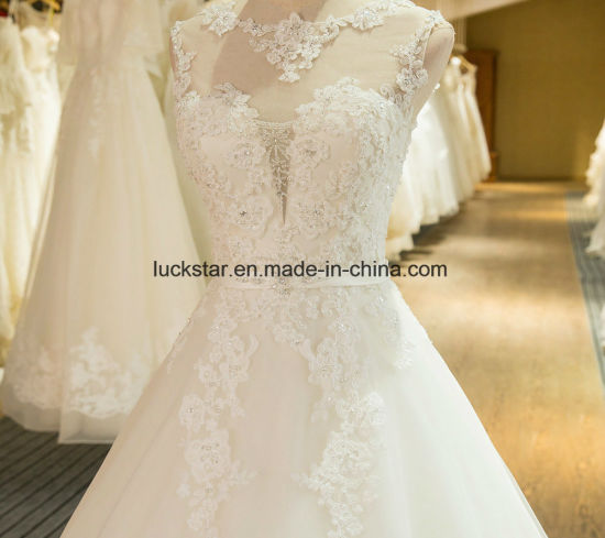 New Arrival A-Line Sleeveless Tulle Lace Appliques Wedding Dress 2017 Alsw1702 pictures & photos