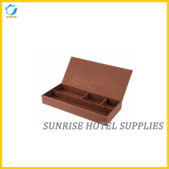 Hotel Brown Leather Stationary Box pictures & photos