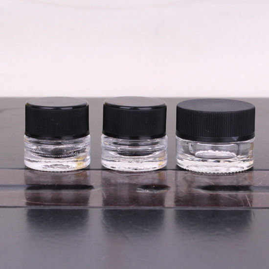 Hot Sell Straight Side 10ml Nini Child Resistant Glass Jar with Black Plastic Cap for Face Cream