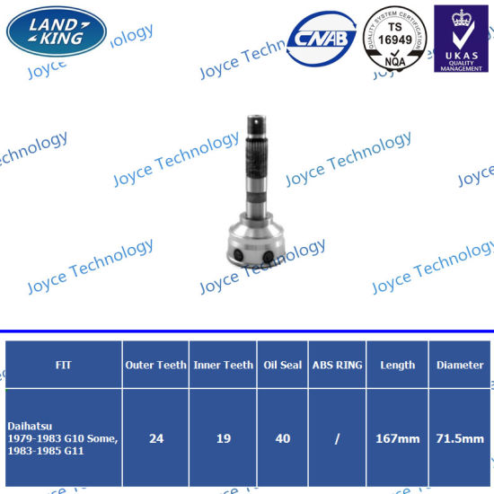 Auto Chassis Transmission Parts CV Joint for Daihatsu Da-010