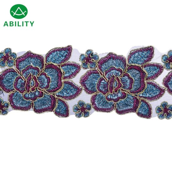 Wholesale Traditional Polyester Organza Embroidery Lace Trim