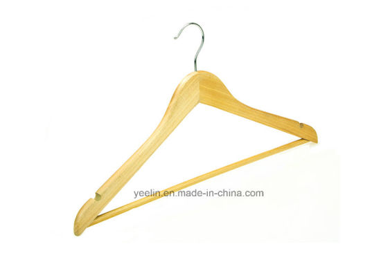 Hotel Wooden Clothes Hanger with Silver Hook pictures & photos