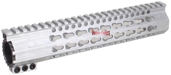 White Raw Aluminum Clamp Free Float Keymod Key Mod Quad Rail Handguard  223  5 56 Ar-15 Ar15 Ar 15 M4 M16 Without Anodized Finish