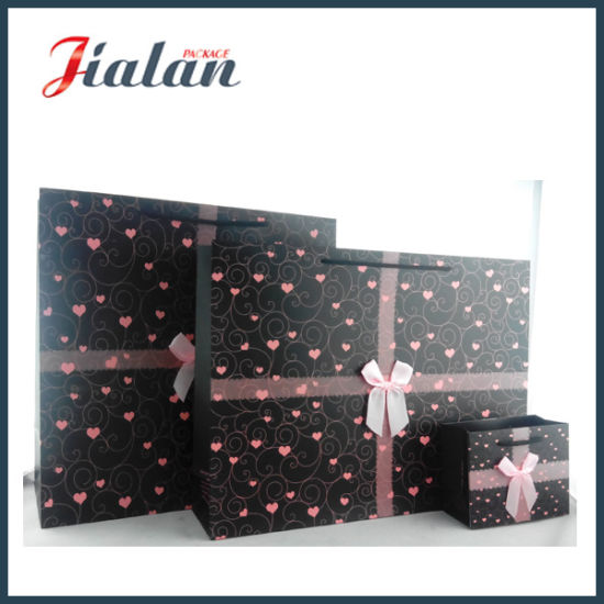 Black Color with Pink Heart Shopping Carrier Gift Paper Bag