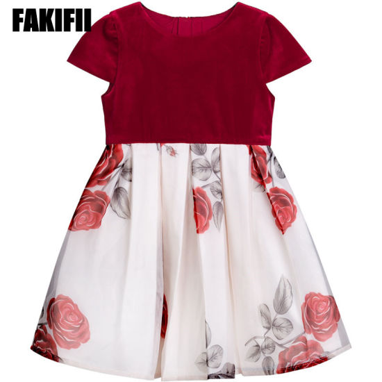 e74a0433c929 Brand Boutique Wholesale Kids Wear Children Apparel Spring Girl Rose Print  Red Velvet Dress Brand Clothes