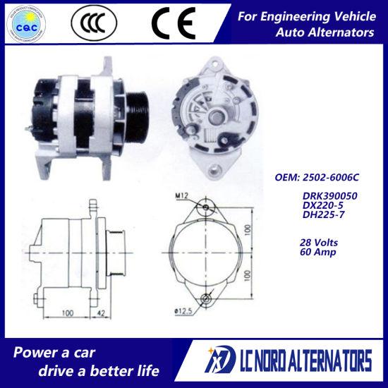 alternator for doosan daewoo excavator engine parts