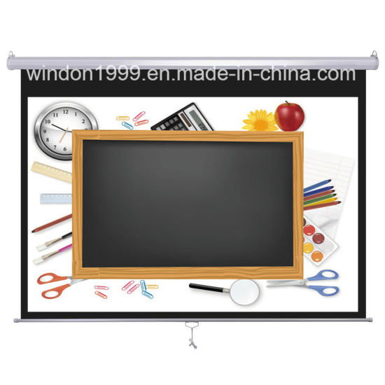 100 Inch Manual Projector Screen HDTV Format Projection Matte White Fabric pictures & photos