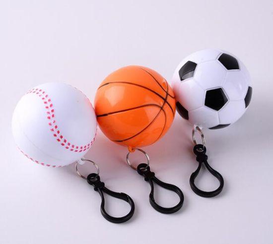 Promotional Gift Disposable Football Basketball Rain Poncho Key Chain