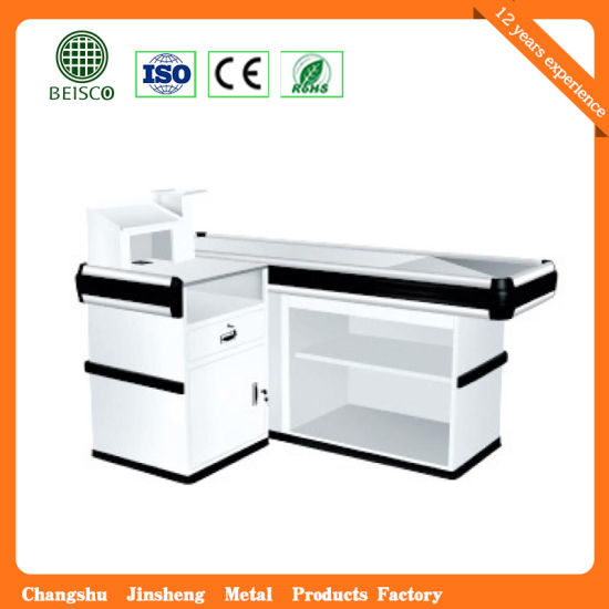 Supermarket Store Aluminum Edge Checkout Counter with Conveyor Belt pictures & photos
