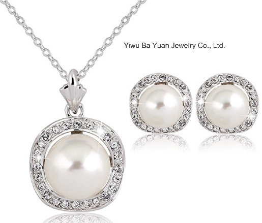 CZ Pearl Wedding Necklace Set, Bridal Jewelry, Wedding Jewelry, CZ Jewelry Set, pictures & photos