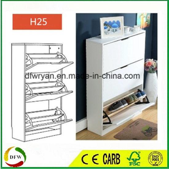 Customized Melamine MDF Doors Wooden Shoe Rack Cabinet