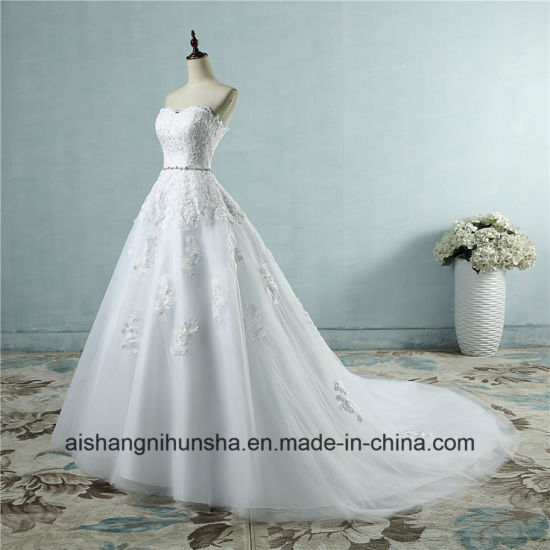 Sweetheart Lace Flower Fashion Sexy Wedding Dress for Brides pictures & photos