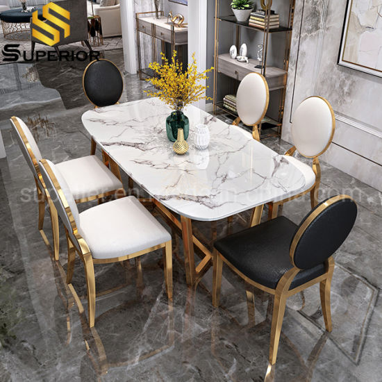 Rectangle Gold Designs White Marble Dining Table And 6 Chairs China Dinner Table Modern Style Table Made In China Com