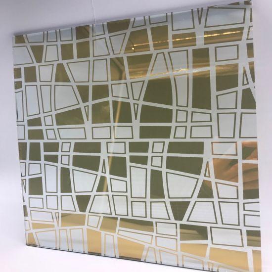 Golden Titanium Coated Ice Flower Acid Etched Art Decorative Glass